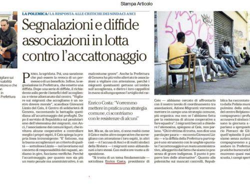 La Repubblica 25 maggio 2017 – Associazioni contro l'accattonaggio