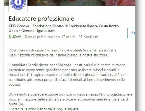Ricerchiamo Educatori Professionali, Assistenti Sociali e Tecnici della Riabilitazione Psichiatrica
